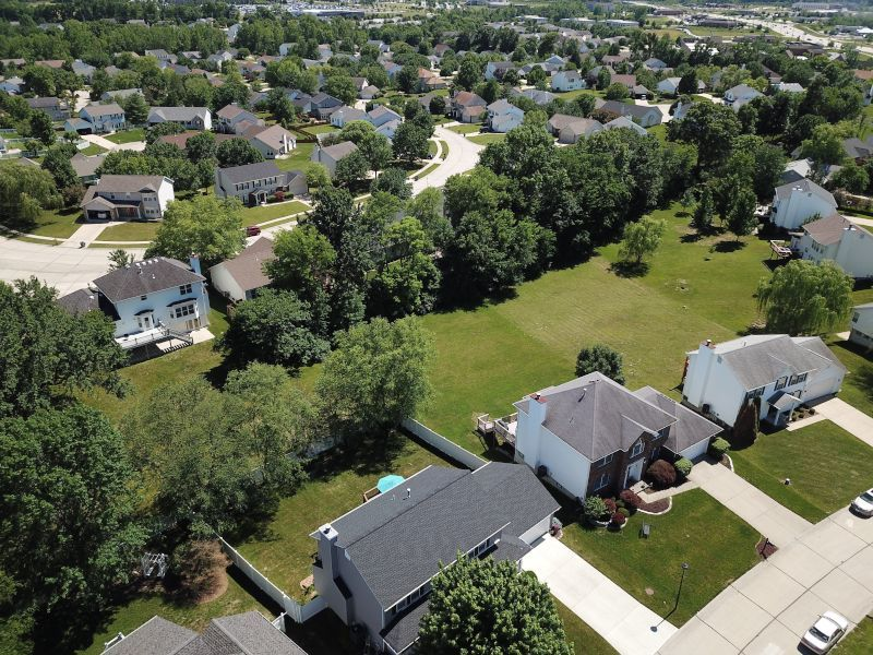 Aerial View of House Driveways