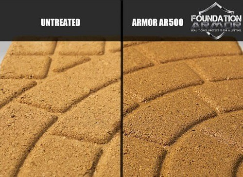 Concrete Before And After Armor AR500 Concrete Sealer Treatment