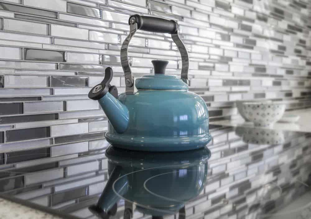 Blue Kettle on Kitchen Counter