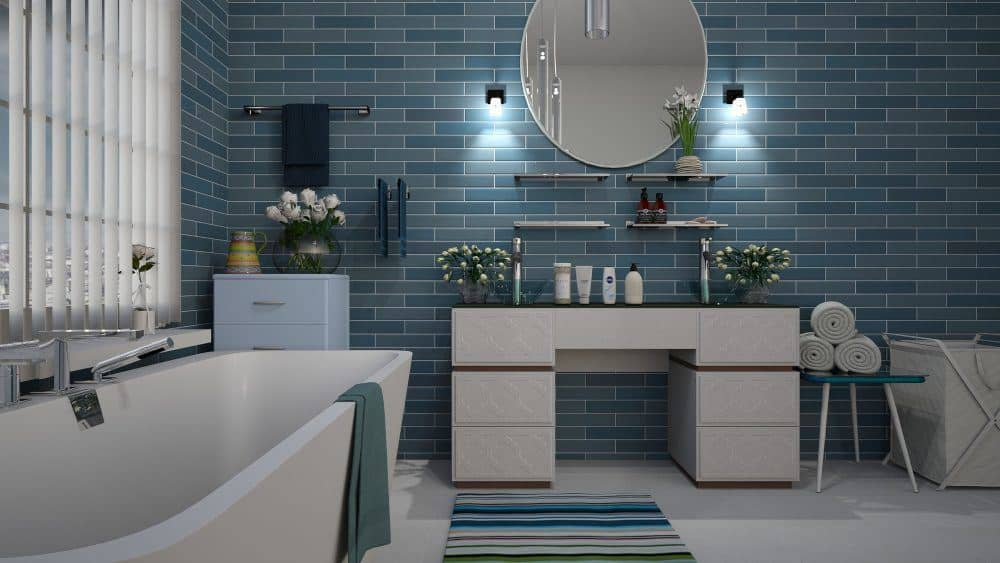 Blue and White Bathroom Interiors