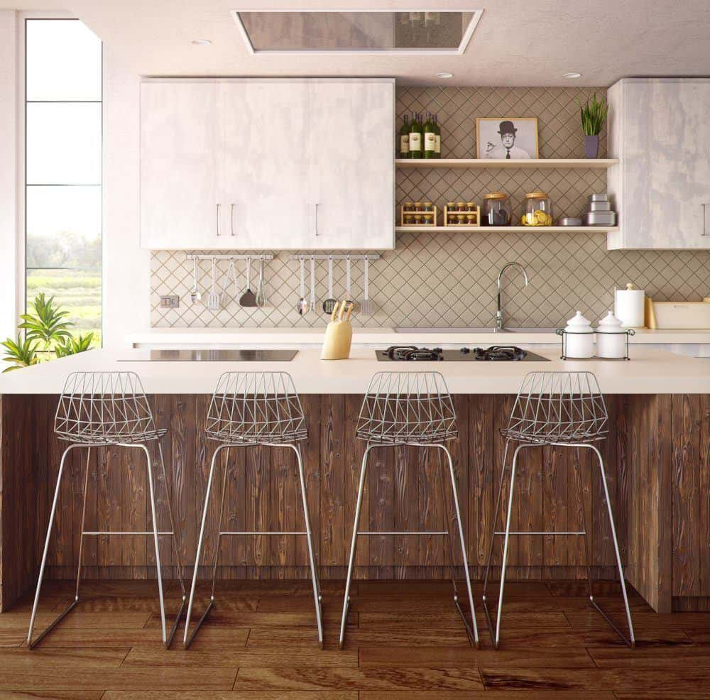 Counter with Metal Chairs