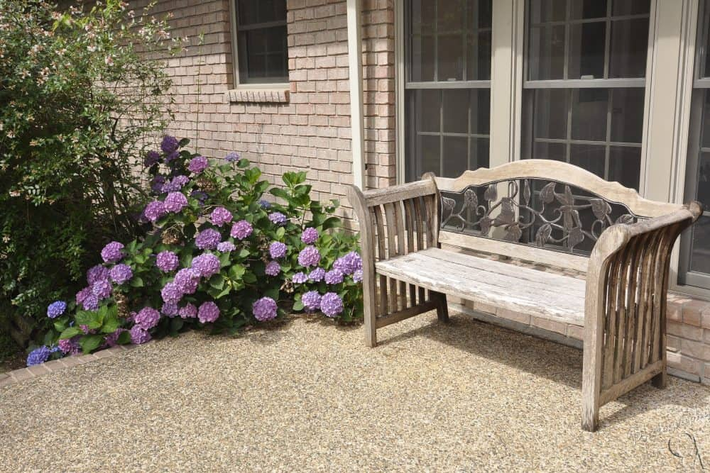 Patio with Wood Bench
