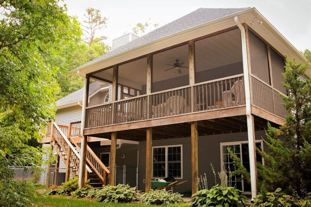 Wood Back Porch and Stairs