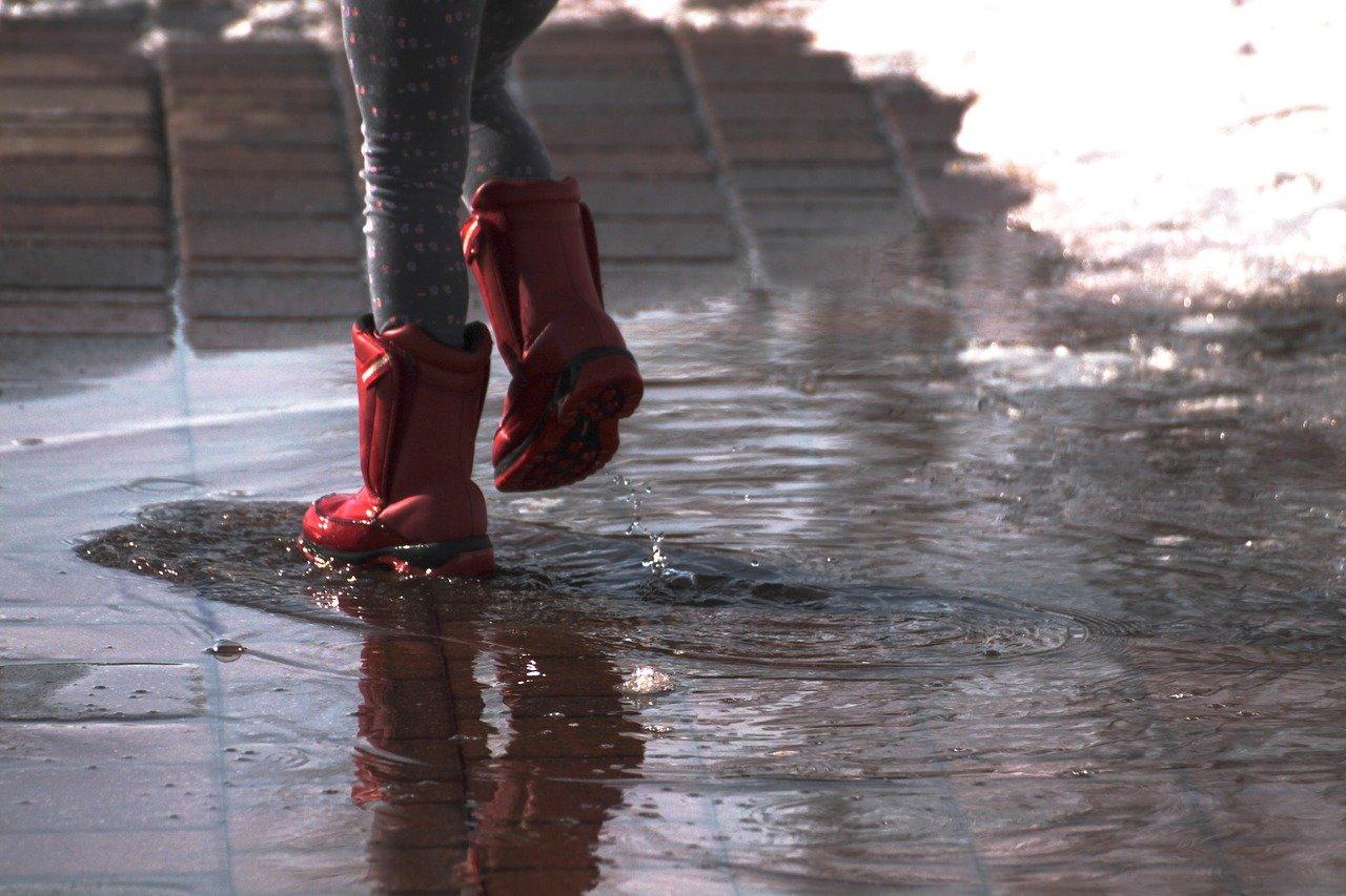 walking over wet concrete